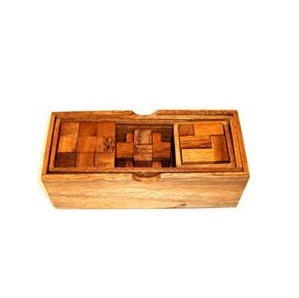 3 in 1 Wooden Puzzles in Timber Box