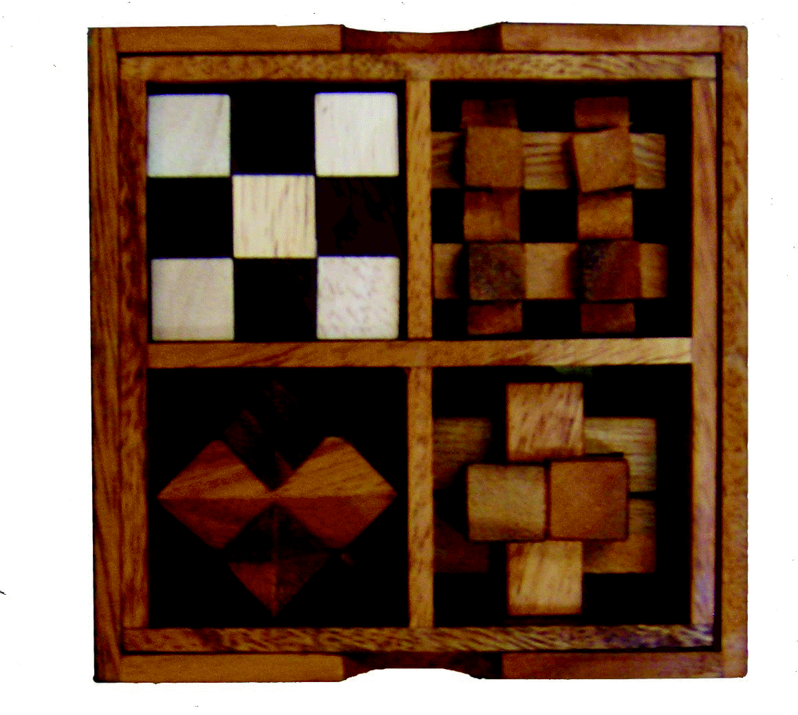 4 in 1 Wooden Puzzles Timber Box